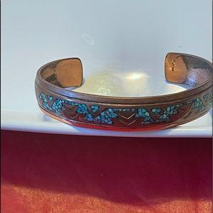 Vint Nakai Navajo Turquoise Inlaid Cooper Bracelet